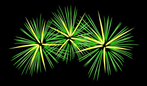 Focuri verzi si galbene de artificii