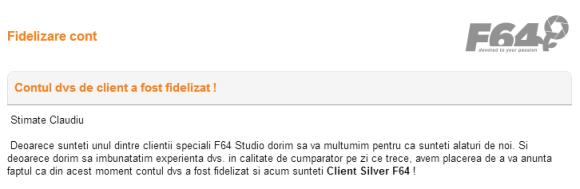 Contul tau de Client F64 a fost fidelizat - Client Silver F64